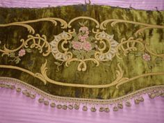 Antique 1800s window curtain valance, French Chateau window valance, pelmet, silk velvet, hand embroidery w bobble trim