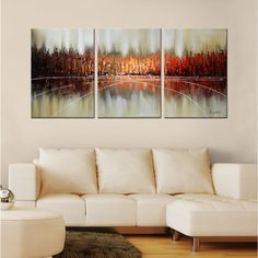 Hand-painted 'Abstract 662' 3-piece Gallery-wrapped Canvas Art Set