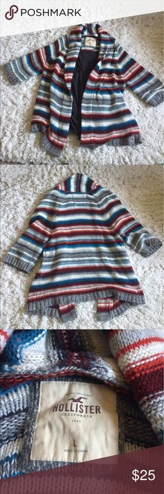 Hollister Beachy Baja Cardigan I can just see someone wear this sweater by a bonfire on the beach! This Knit Hollister sweater has all the Boho vibes a girl needs! Worn Once. Like New. Size Large. (Cover photo shows cardigan with a tank top in it) 🤙🏼🔥🌙✨ Hollister Sweaters Cardigans