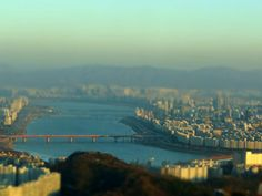 spring on the han river in seoul, korea