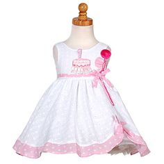 White Pink Balloon Boutique 1st Birthday Dress Baby Girls 12M-4T