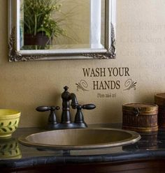 Bathroom Vinyl wall lettering words quotes art decals stickers Wash your Hands Mom said so