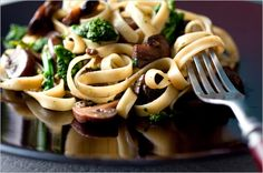 Recipes for Health - Fettuccine With Braised Mushrooms and Baby Broccoli