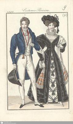 19 - (9.) Costumes Parisiens. - Petit courrier des dames - Seite - Digitale Sammlungen - Digitale Sammlungen