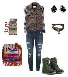 """""""Leather Vest Outfit"""" by cbear33 on Polyvore featuring Frame Denim, J Brand, Abercrombie & Fitch, JJ Footwear, Casetify, Vintage Addiction, Kendra Scott and Bling Jewelry"""