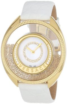 Versace Women%27s 86Q71SD498 S001 Destiny Spirit Gold IP Case Floating Spheres in Glass Bezel Mother of Pearl Dial White Alligator Leather Diamond Watch