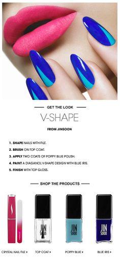 Beauty HOW TO: V-Shape Nails by JinSOON #Sephora #SephoraNailspotting #howto #nailart