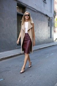 a burgundy bcbg a line leather skirt camel wrap coat vest lariat necklace spectator tory burch pumps work wear fashion style blog san francisco