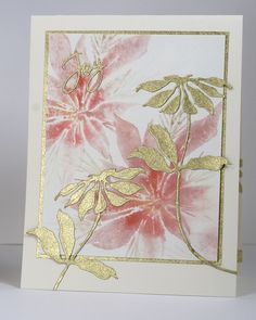 handmade Christmas card: Pink & Gold Poinsettia by Heather Telford . watercolor impressions on main panel . die cut gold wrapping paper mat and die cut flowers . flowers put on adhesive sheet before cutting . Christmas Cards To Make, Xmas Cards, Holiday Cards, Handmade Christmas, Poinsettia Cards, Christmas Poinsettia, Black Christmas, Gold Wrapping Paper, Penny Black Cards