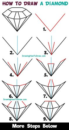 How to Draw a Diamond Easy Step by Step Drawing Tutorial for Kids & Beginners diamond drawing - Drawing Tips Easy Drawing Tutorial, Easy Drawing Steps, How To Draw Steps, Step By Step Drawing, What To Draw Easy, Pencil Drawings For Beginners, Drawing Tutorials For Beginners, Pencil Art Drawings, Art Sketches
