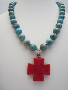 Turquoise Magnesite Necklace with Red Cross Fall by yasmi65