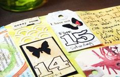 cool dates - stamped outline numbers with handwritten day