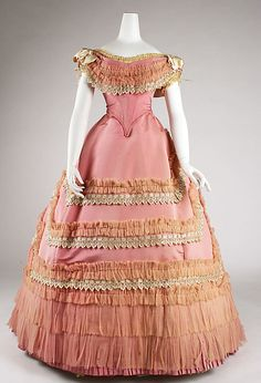 Pink silk ball gown with lace and ruched trim (front), French, ca. 1868.