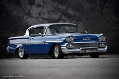 blue 1958 Chevrolet Impala by AmericanMuscle
