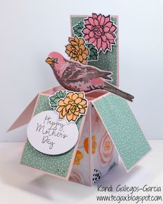 teojax: Happy Mother's Day box card, Close to My Heart, CTMH, Gimme Some Sugar, Thoughtful Bird, For You Darling, Thin Cuts