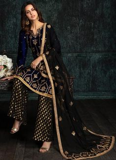 Navy Blue and Black Velvet Palazzo Suit features a velvet kameez, brocade bottom and net dupatta. Embroidery work is completed with zari and stone work embellishments. Pakistani Wedding Outfits, Pakistani Dresses, Indian Dresses, Indian Outfits, Beautiful Dress Designs, Beautiful Dresses, Dress Outfits, Fashion Dresses, Black Outfits