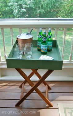 DIY Drink stand created from leftover parts!  Free and easy.  ImpartingGrace.com