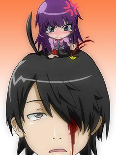 Monogatari, Senjougahara Hitagi, Araragi Koyomi Anime Manga, Anime Art, Hanekawa Tsubasa, Otaku, Monogatari Series, Animation, Fanart, Cute Characters, Yandere