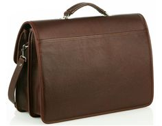 Oversized Multi-Compartment Briefcase - Brown - In stock - Back View