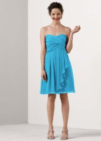 Bridesmaid Dress for Two From David's Bridal (Short Crinkle Chiffon Dress with Front Cascade Style F14847)