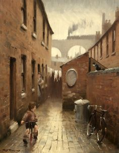 """""""Rob Rowland again with a super painting of a time gone by. It rings true for the I remember scenes like this and so does Dr S. My nearest railway station appears in many films today as it's still in tact and evocative. Art History Major, Black History, Industrial Artwork, Nostalgic Art, Train Art, Building Art, Model Train Layouts, Sculpture, Gravure"""