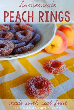 Homemade Peach Rings with Real Fruit – Ummm…. someone pinch me! Homemade Peach Rings with Real Fruit – Ummm…. someone pinch me! Just Desserts, Delicious Desserts, Yummy Food, Health Desserts, Snack Recipes, Dessert Recipes, Bar Recipes, Detox Recipes, Rice Recipes