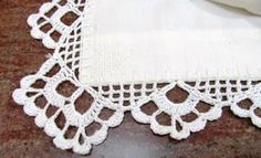 Not crazy about the corner, but I like the edges Crochet Tablecloth Pattern, Crochet Edging Patterns, Crochet Lace Edging, Crochet Borders, Crochet Diagram, Crochet Art, Crochet Doilies, Crochet Embellishments, Brazilian Embroidery