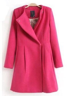 Rose-Carmine Plain Turndown Collar Stud Thick Wool Coat