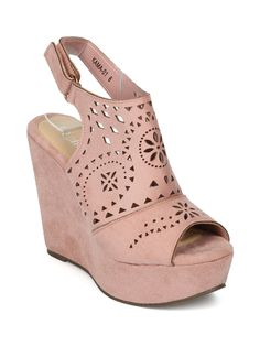 Shoes Refresh HH24 Women Faux Suede Peep Toe Perforated Slingback Platform Wedge Sandal