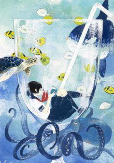 Con este calor… mejor leer refrescándose (ilustración de Achiki)