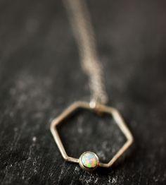 Hexagon Gem Necklace