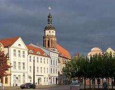 Oberkirche St Nikolai in Cottbus with Altmarkt Square
