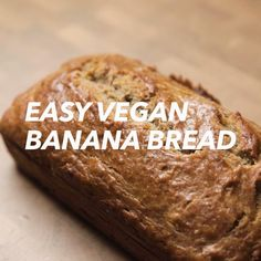 Easy Vegan Banana Bread - - This Dairy Free Banana Bread is absolutely delicious and made in just one bowl. Completely vegan and can be made into a gluten free dairy free banana bread. Vegan Baking Recipes, Easy Bread Recipes, Vegan Dessert Recipes, Vegan Breakfast Recipes, Banana Bread Recipes, Banana Recipes Videos, Best Vegan Banana Bread Recipe, Vegan Banana Pancakes, Dairy Free Baking