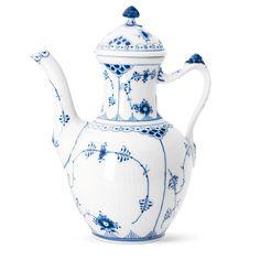 Royal Copenhagen Blue Fluted Half Lace Coffee Pot