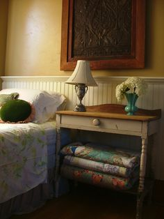 put my old green table by my side of the bed - Na-Da Farm Guestroom