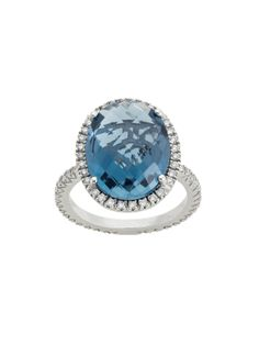 Zoccai 18k White Gold London Blue Topaz and Diamond Ring