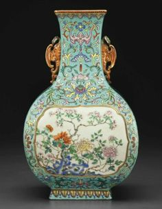 An exceptionally rare famille rose faceted pear-shaped vase, Qianlong six-character seal mark in iron red and of the period (1736-1795)