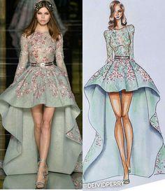Love Fashion, Runway Fashion, Fashion Art, Fashion Outfits, Fashion Design Drawings, Fashion Sketches, Fashion Illustration Dresses, Fashion Illustrations, Illustration Mode