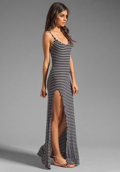 BLUE LIFE Slit Front Tank Dress in Black/White Stripe at Revolve Clothing - Free Shipping!