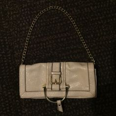 Cato purse with gold chain handle EUC!! Perfect for just the essentials on a night out off-white color goes with just about anything handle can be kept inside for a clutch look!!! Cato Bags Clutches & Wristlets