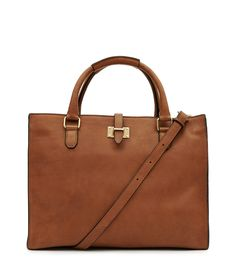 Joyce Tan Large Leather Tote Bag - REISS