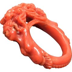 Fabulous Antique Hand Carved Natural Dark Salmon Coral Ring Size 7 from grace-vintage on Ruby Lane Ancient Jewelry, Antique Jewelry, Vintage Jewelry, Coral Ring, Coral Jewelry, Natural Stone Jewelry, Art Carved, Just Amazing, Salmon