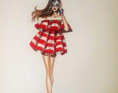 ORIGINAL Fashion Illustration-The Pink Dress by loveillustration Fashion Design Sketchbook, Fashion Design Drawings, Fashion Sketches, Diva Fashion, Fashion Art, Fashion Models, Fashion Outfits, Fasion, Fashion Drawing Dresses