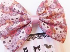 Hey, I found this really awesome Etsy listing at https://www.etsy.com/listing/180865809/floral-hair-bow-with-white-cats-and