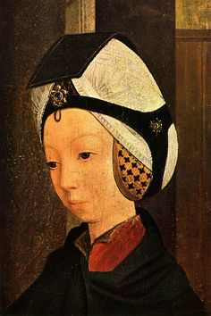 Geertgen tot Sint Jans, also known as Geertgen van Haarlem — Portrait of a Woman, Medieval Hats, Medieval Clothing, 15th Century Clothing, Silly Hats, Dutch Golden Age, Sacred Art, Historical Costume, Headgear, Female Portrait