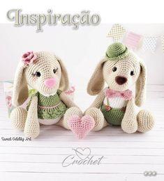 Inspire-se!!!! Crochet Teddy Bear Pattern, Crochet Beret, Crochet Animal Patterns, Crochet Doll Pattern, Crochet Patterns Amigurumi, Crochet Animals, Baby Bundles, Stuffed Toys Patterns, Mini