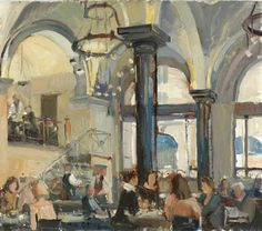 """Nick Botting (British) """"The Wolseley I"""" The Wolseley, Art Cafe, Building Art, Art Market, Cool Artwork, Interior And Exterior, Oil On Canvas, Architectural Drawings, Architecture"""