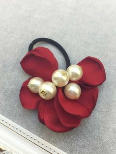 [$2.29] 2 Pack Rose Petals Large Pearl Elastic Hair Band (Specification: Soft Cloth Red)