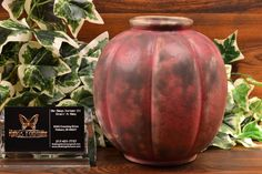 This iconic Burley Winter Pottery gourd vase was produced in the early It is a wonderful example typifying the ancient-relic style glazes Burley Winter marketed so successfully. Zanesville Ohio, Pumpkin Vase, Purple Gray, Gourds, 1920s, Pottery, Winter, Purple Grey, Ceramica