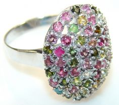 Amazing Watermelon Tourmaline Sterling Silver Ring s. 10